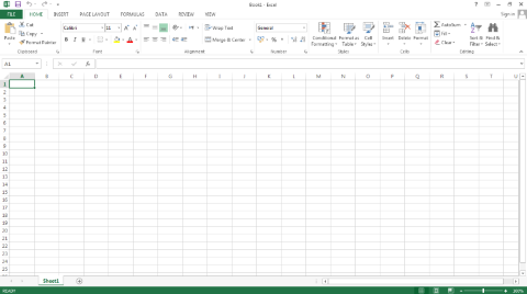 Microsoft Excel 2013 Default Screen Small