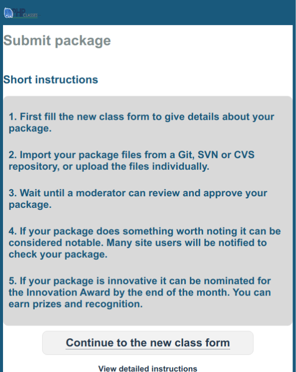 Package contribution instructions page