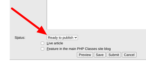 Option to set the status of the article to Ready to Publish