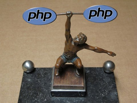 PHP logos combined with Einarmiger Gewichtsheber Statue By Ueb-at (Own work) [CC-BY-SA-3.0 (http://creativecommons.org/licenses/by-sa/3.0)], via Wikimedia Commons