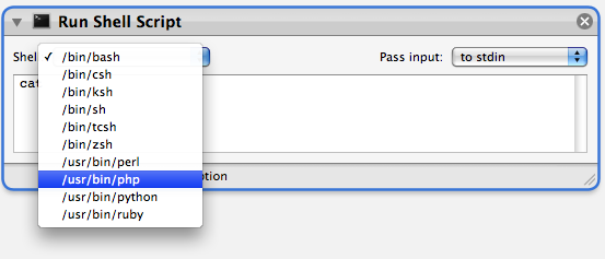 screen shot of php in the Automator
