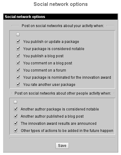 Social Network options