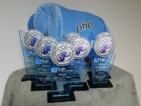PHP Innovation Award 2014 Trophies and elePHPant prize