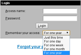 Login Form with Session Duration Options
