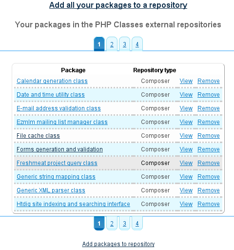 Packages in Composer repository listing