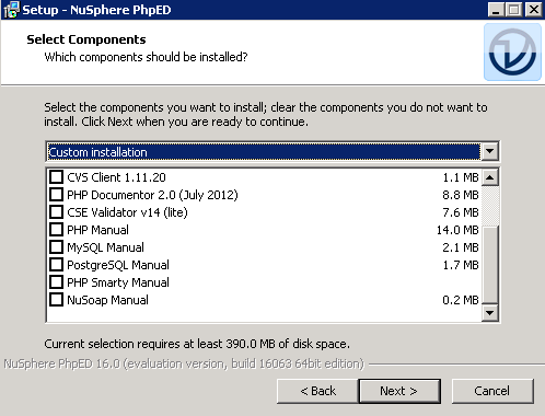 PhpEd Installation Screenshot