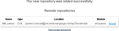 Remote repositories listing