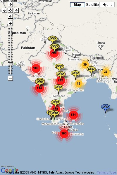 Map of PHP professionals in India