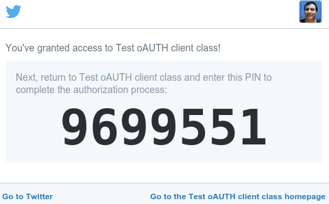 Pin code displayed by Twitter after the user authorizes the application