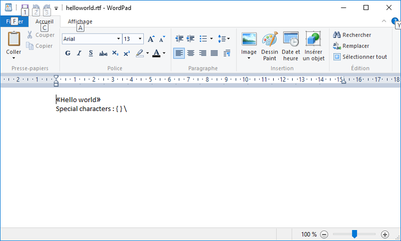 Simple Wordpad document